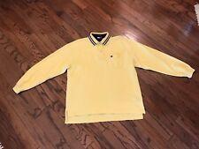 VTG Tommy Hilfiger Polo Shirt YELLOW /NAVY BIG BOX LOGO Vtg 90s Sz XL