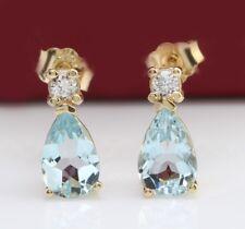 3.18 Carat Natural Aquamarine & Diamonds 14K Solid Yellow Gold Stud Earrings