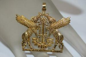 18K 750 Yellow Gold Assyrian Double Winged Bulls Pendant Charm Necklace 15.1 grm