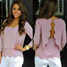 Women Girls Casual Long Sleeve Loose Casual T-shirt Tops Shirt Blouse Pink-M