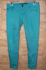 STONE LOVE JUNIOR SIZE 3 COTTON BLEND  TURQUOISE BLUE DISTRESSED SKINNY JEANS
