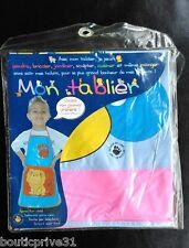 Tablier enfant - mixte - en PVC- avec motifs - Rose , jaune et gris