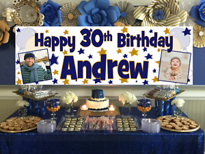 Personalised Birthday Banner Photo Navy & Gold Party Decorations 18th 21st 30th