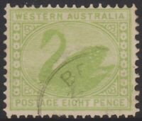 WA Stamps - Swan 1901 - eight pence green - used - SG121