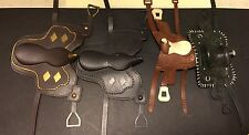 Lot of 4 New & Vintage Traditional Model Horse Western Saddles Rubber Tack