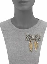Alexis Bittar Crystal Encrusted Bow Pin Brooch with Gold Fringe $480