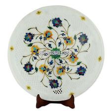 "12"" White Marble Lapis Lazuli Handmade Inlaid Stone Art Decorative Serving Plate"