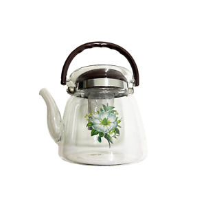 2.2LT Glass Coffee & Tea Pot w/ Flower Design (Free Gift w/ Any Purchase)