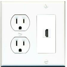 1 Port HDMI 2.0 Wall Plate w/Round Power Outlet