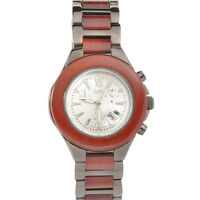 Red wood Blk Ion-Plated Chronograph Look CZ Dial Women/men's Watch W9005LB1