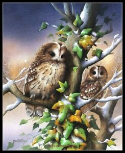 Tawny Owls - Chart Counted Cross Stitch Patterns Needlework DIY DMC Color