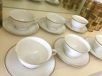 Vintage Fine China 6 Tea Cup & Saucer Set White w Gold Trim 12 Piece