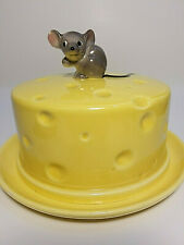 Vintage Ceramic Mouse Round Cheese  Dish  HO14 Plate Yellow With Covered Lid