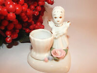 Candle Holder Angel Figurine Taper Candlestick Cup White Porcelain Pink Rose
