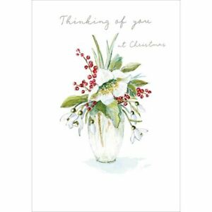 Christmas Card Thinking Of You At Christmas Flowers