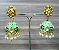 Indian Pakistani Kundan Earrings Pierced Fashion Jhumki Green Meena Pearls Set