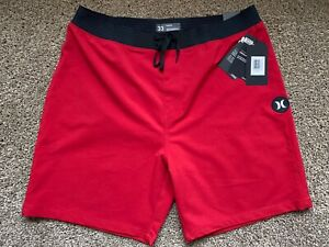 BRAND NEW HURLEY PHANTOM HYPERWEAVE RED SOLID MENS BOARD SHORTS 33 or 34 x 18