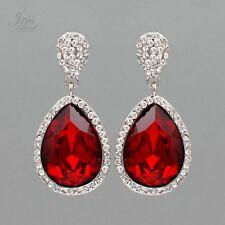 Rhodium Plated Red Crystal Rhinestone Wedding Drop Dangle Earrings 06875 Prom