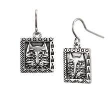 Laurel Burch Pewter Silver Tone Ziggy Cat #5062 Drop Pierced Earrings NWT