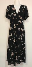 NWT JACQUI E WRAP STYLE BLACK / FLORAL DRESS SIZE 8 EVENING / PARTY / WORK