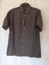 NWT Men's Van Heusen Black Checkered Button Down Shirt, Casual Sz Medium