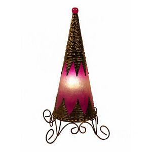 Fair Trade Medium Cone Table Lamp Hand Made Fushsia