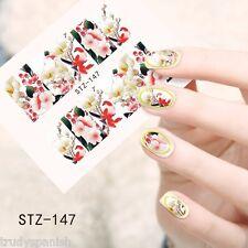 Nail Art Water Decals Wraps Oriental Japanese Flowers Floral Gel Polish (147)