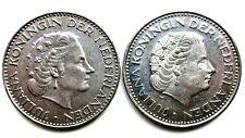 Niederlande Lot von 2 x 1 Gulden 1967,1971