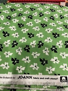 2 1/2 yards green floral cotton fabric - NEW