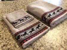 Western Towel Set - Gray Horses on Light Grey Towels