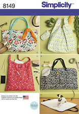 Simplicity Pattern 8149 Large TOTES AND DOG TRAVEL BED shoulder bags organizer