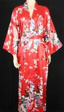 Elegant Handmade Peacock Design Silk Satin Long Kimono Robe w/ Waist Tie, Red