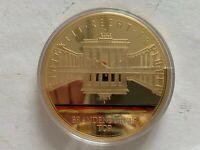 Medaille Gigant 100 mm, Brandenburger Tor Einigkeit Recht Freiheit, Cu vergoldet