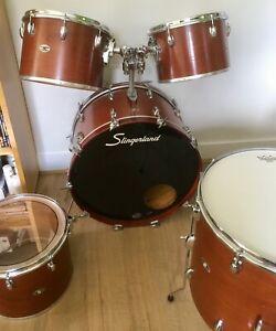 """Vintage (late 1970s) Slingerland 5 piece drum kit - 13/14/15/18/24"""" - dark brown"""