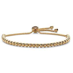 "Beaded Adjustable 14k Yellow Gold-Plated Drawstring Slider Bracelet 10"""
