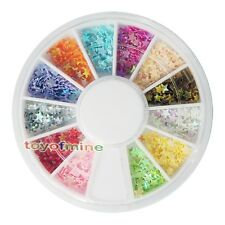 UV Acrylic Tips Decoration Wheel Nail Art Star Flake Glitters Mix Color