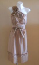 VINTAGE HARAH DESIGNS COTTON BLEND NUDE ABOVE KNEE MINI ONE SHOULDER