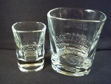New listing Jack Daniel's Old No 7 Brand square whiskey glass & shot glass both embossed