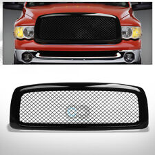 Fits 02-05 Dodge Ram Glossy Black Mesh Front Hood Bumper Grill Grille Guard ABS