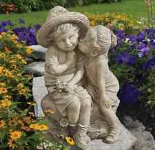 Boy and Girl Sculpture Garden Statue Kissing Child Outdoor Decor Patio Lawn Yard