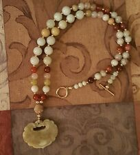 GRADE A JADE CARVED PENDANT NECKLACE WITH 14K GOLD FILLED BEADS