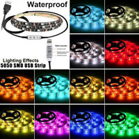 1-2M Multi-colour RGB LED Strip Light USB Cable LED TV Background Lighting Kit
