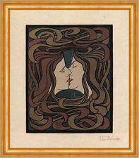 Der Kuss Peter Behrens japanischer Farbholzschnitt Designer Bütten H A3 0563