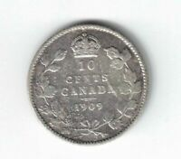 CANADA 1909 10 CENT VICTORIA LEAVES DIME EDWARD VII STERLING SILVER COIN