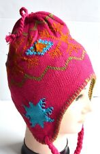 8a784fef72d NEW Womens mens Unisex Fuschia Pink flake patterned nepal hat winter fashion
