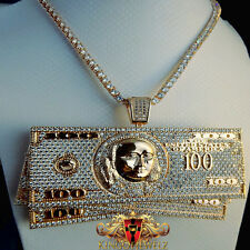 Icy Cash Stash Money $100 Bills Lab Diamond Mens Pendant Charm +30 Tennis Chain