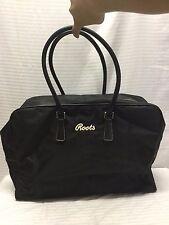 Roots Large Black Nylon Shoulder Bag, Gym Bag, Travel Bag