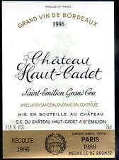Étiquette  Château HAUT-CADET. 1986. SAINT-EMILION Grand Cru