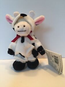 """Ganz Wee Bear Village Cow Bear With Tags - 6"""" - Clover New Old Stock"""