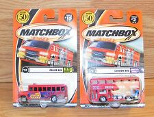 Lot of 2 Matchbox London Hometown Heroes & Police Bus To The Rescue **NEW-READ**